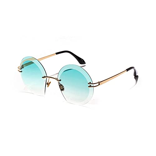 JINZUN Gafas de Sol Redondas sin Montura Gafas deCorte de Diamante Gafas de Sol de Metal Gafas de protección UV Verde