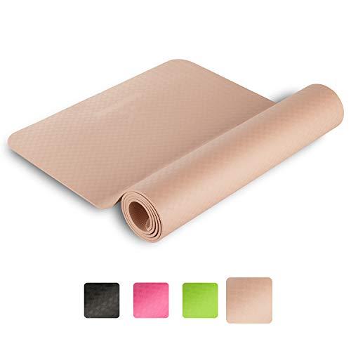 BODYMATE Yogamatte Premium TPE Rose-Gold - Größe 183x61cm – Dicke 6mm – Schadstoffgeprüft durch SGS frei von Phthalaten, BPA, Schwermetallen – Trainings-Matte für Fitness, Yoga, Pilates, Functional