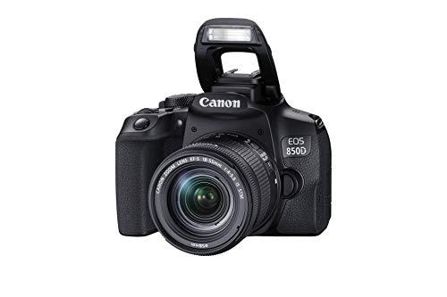 Canon EOS 850D DSLR Digitalkamera Gehäuse - mit Objektiv EF-S 18-55mm F4-5.6 IS STM (24,1 MP, 7,5 cm (3 Zoll) Display, APS-C Sensor, 45 AF-Kreuzsensoren, 4K, DIGIC 8, WLAN, Bluetooth) schwarz