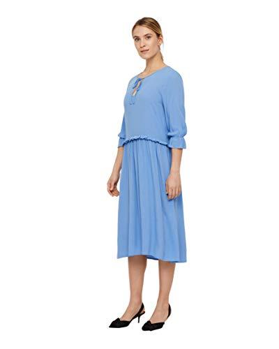 nümph Jersey-Kleid trageangenehmes Damen Sommer-Kleid mit Tunika-Ausschnitt 3/4-Arm Kleid Freizeit-Kleid Blau, Größe:40
