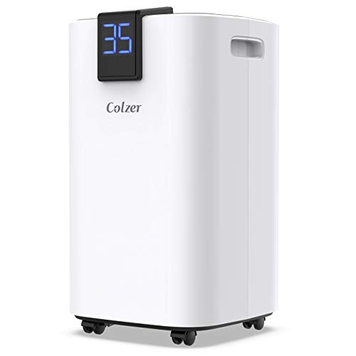 COLZER 30 Pints Home Dehumidifiers for 1,500 SQ FT Basements & Large Rooms, Large Removal Capacity with 5.3-Pint Water Bucket & Continuous Drain Hose for Self-draining