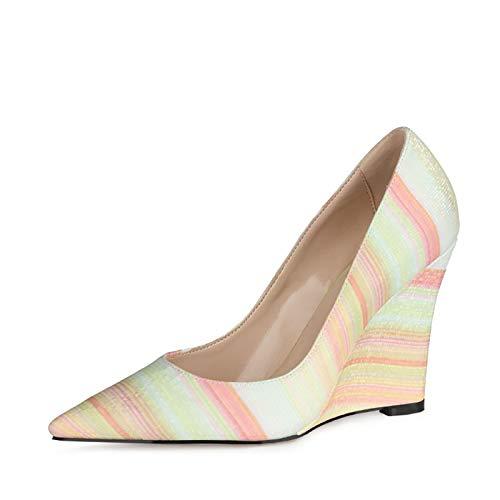 RHSMY Tacones altos para mujer, 10 cm, puntiagudos, sexy, zapatos únicos, tacón de pendiente, zapatos altos de PU para primavera (deslizable, 34-45 EU) (35 UE, rosa amarillo)