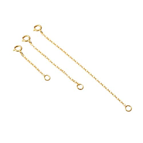 Artibetter 3 Stück Sterling Silber Halskette Extender Kette Armband Fußkettchen Halsreif mit Karabinerverschluss Verstellbare Länge für DIY Schmuckherstellung (Golden)