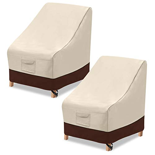 """Vailge High Back Patio Chair Cover,100% Waterproof Veranda Chair Covers,600D Heavy Duty High-Back Chair Outdoor Patio Furniture Cover(2 Pack - 35"""" L x 28W x 35"""" H , Beige & Brown)"""