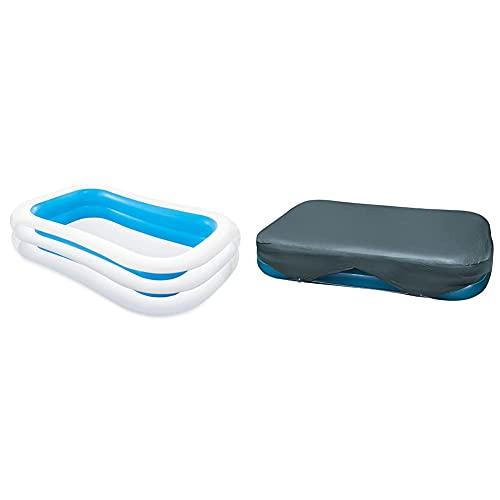Intex 56483Np Piscina Hinchable Rectangular 262 X 175 X 56 Cm, 770 litros (Colores Surtidos), 1 Unidad + 58412Np Cobertor Rectangular Piscina 305 X 183 Cm Y 262 X 175 Cm