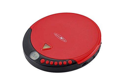 Reflexion PCD510MF Tragbarer CD/MP3-Player mit UKW-Radio (Hörbuchfunktion, Ohrhörer, Netz Batteriebetrieb) rot
