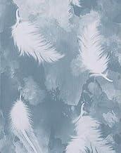 Papel de parede removível para tirar e colar com penas azul e branco, 30 x 45 cm, papel de parede branco, autoadesivo, cob...