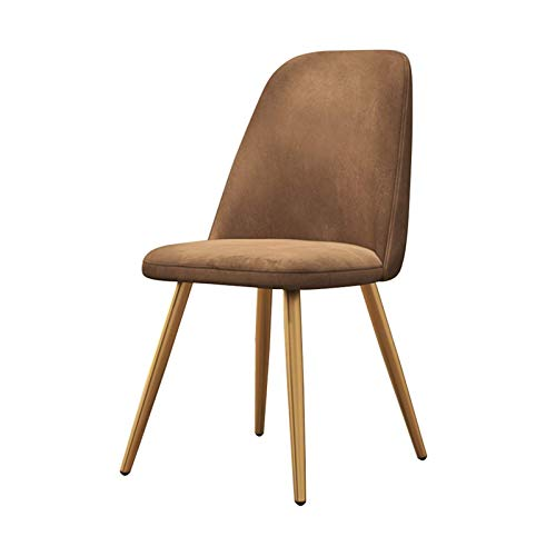 Dining Chairs Ergonomic Office Chair Backrest Soft Cushion Tulip Style Metal Chair Legs Upholstered Seat Dining Office Lounge Chair (Color : Brown)