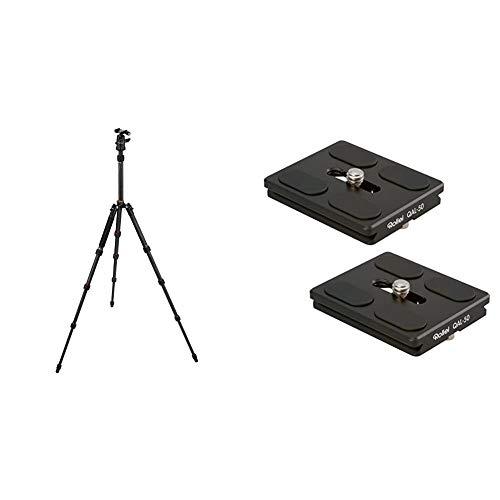 Rollei Compact Traveler No. 1 Carbon - sehr leichtes Reisestativ aus Carbon mit einem Packmaß von nur 33 cm & QAL-50 - professionelle Kamera-Schnellwechselplatte/Schnellverschlussplatte