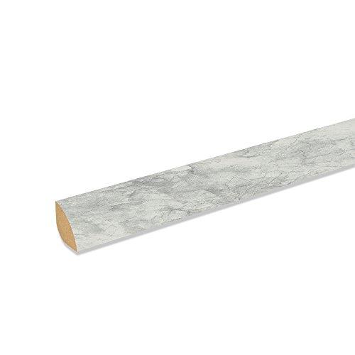 Viertelstab Bastelleiste Abschlussleiste Abdeckleiste aus MDF in Alu weiß 2600 x 12 x 12 mm