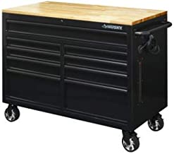 Husky 46 in. W x 24.5 in. D 9-Drawer Mobile Workbench with Solid Wood Top in All Black Finish