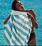 Victoria Secret Beach Towel - Striped Teal and White Fringed