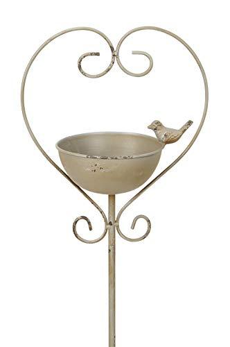 Dio Meisenknödelhalter als Gartenstecker mit Vogeltränke oder Futterstelle und Vögelchen im Herz