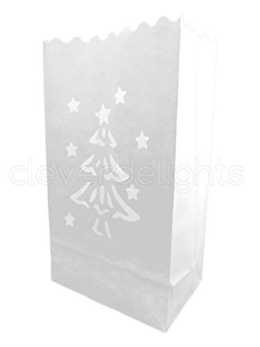 CleverDelights White Luminary Bags - 20 Count - Christmas Tree Design - Flame Resistant Paper - Christmas Holiday Outdoor Decorations - Party and Event Decor - Luminaria Candle Bag