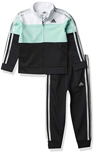 adidas Girls' Tricot Jacket & Jogger Active Clothing Set, Clear Mint, 2T