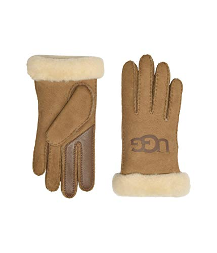 UGG® Damen Sheepskin Logo Handschuhe Braun Sml
