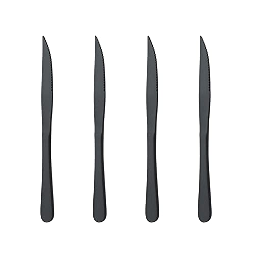 Uniturcky Matte Black Titanium Plating Stainless Steel Steak Knives Heavy-Duty Steak Knife Set Of 4 For Chefs Commercial Kitchen Great For BBQ Weddings Dinners Parties All Homes & Kitchens