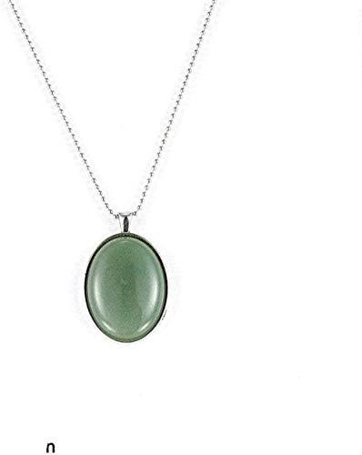 ZGYFJCH Co.,ltd Collar de Moda Collares con Colgante de Piedra para Mujer Collar con Colgante de tanglin Verde Piedra Natural Vintage Gran Cadena de Plata Ovalada Grande Regalo de la joyería