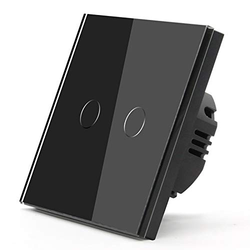 BSEED 86mm Interruptor Táctil de Uso Doméstico con Carga Resistiva 500W Pared 2 Gang 1 Vía Para Paneles de Vidrio Templado 110V-240V Negro