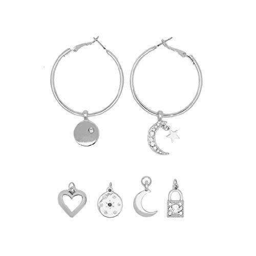 MIORIO Star Moon Heart Lock Pendientes de aro Reemplazables Tiny Huggie Charm Pendientes Kit