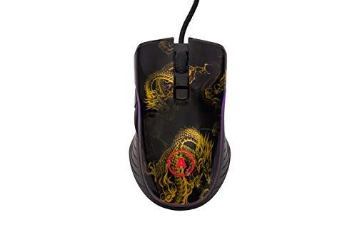 Gaming Mouse Dragon - Ratón para videojuegos (1000 Hz, 1 ms, 10000 ppp, con cable, 7 botones programables, software dedicado)