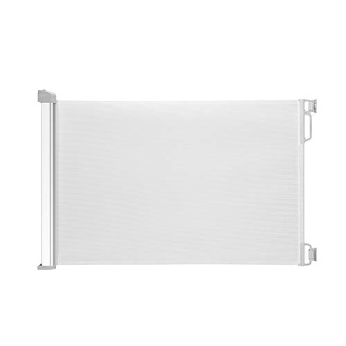 """EasyBaby Products Indoor Outdoor Retractable Baby Gate, 34'' Tall, Extends up to 55"""" Wide, with Elegant Aluminum Casing, White"""