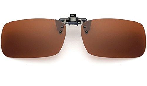 ELSA & ANNA® Polarisierte Sonnenbrillen Unisex Flip-up Klipp auf Sonnenbrille Gläsern Brille VF-GLS01 (Braun)