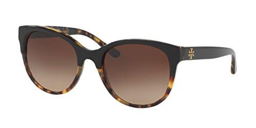 Tory Burch TY7095 Sunglasses 160113-54 - Black/Tortoise Frame, Dark Brown TY7095-160113-54