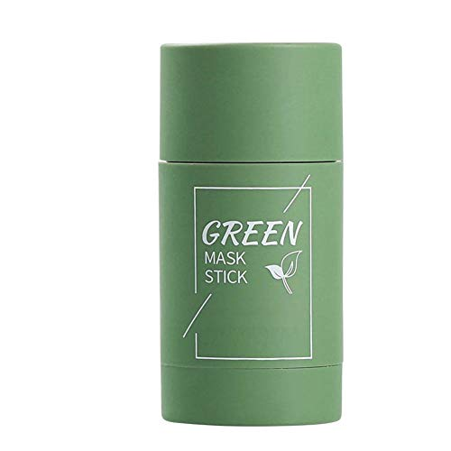 Green Tea Purifying Clay Face Mask Stick Deep Cleansing Oil Control Anti-Acne Solid Mask, Eggplant Hydrating Blackhead Remover Facial Mask Repair and Shrink Pores