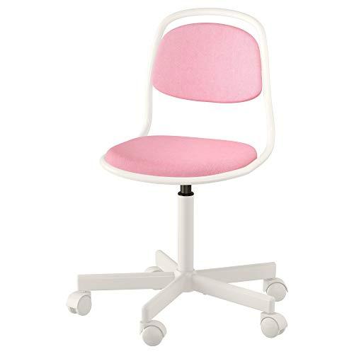 IKEA 903.208.27 Örfjäll Kinder-Schreibtischstuhl, weiß, vissle pink