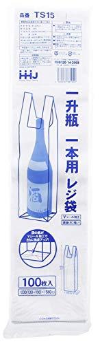 ハウスホールドジャパン レジ袋 一升瓶 1本用 100枚入 ホワイト 約56×13cm(底マチ10cm) TS15