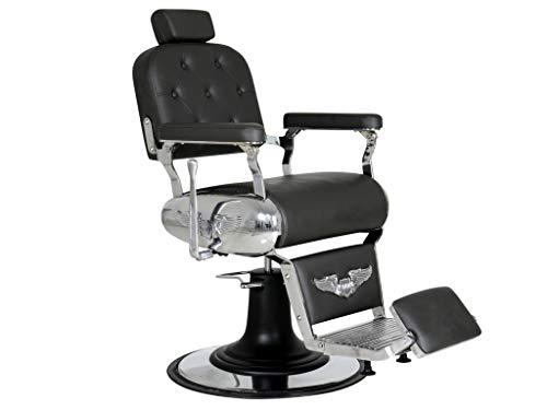 Polironeshop Harley - Sillón profesional para barbería, peluquería, tatuaje, color negro