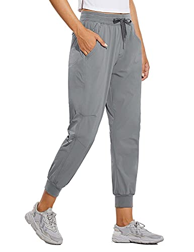 BALEAF Women's Hiking Pants Outdoor Quick Dry Drawstring Joggers with Pockets Elastic Waist Travel Pull on Pants Medium Gray L