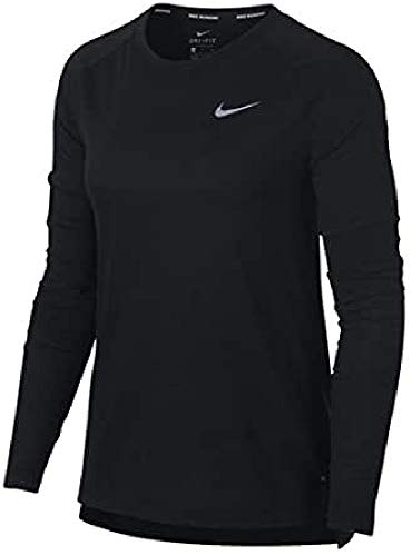 NIKE W Brthe Tailwind Top LS Camiseta, Mujer, Negro, L