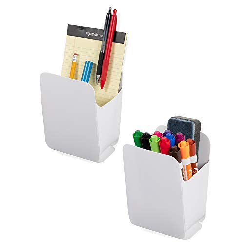 Wallniture Origami Dry Erase Marker Bin for Whiteboards and Pen Pencil Crayon Holder for Classrooms, Recycled Plastic, White, Set of 2, Assembly Required