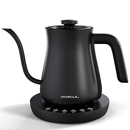 Electric Gooseneck Kettle, VARCUL Pour Over Kettle for Coffee Tea Brewing, Stainless Steel Inner Lid & Bottom, 2H Temperature Holding, Auto Shut-Off Protection, 1200W Rapid Boil, 0.6L, Matte Black