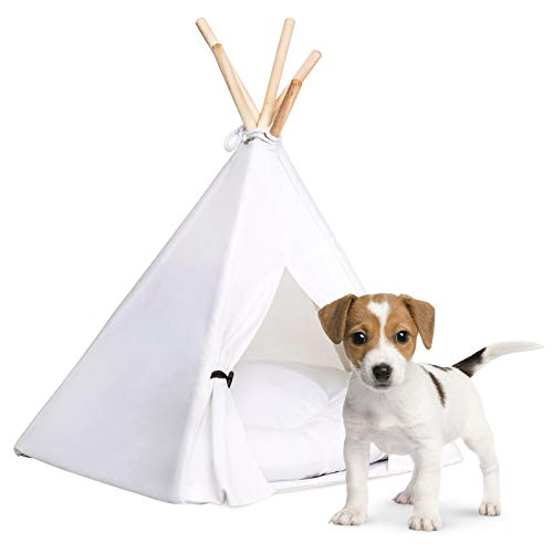 """Portable 24"""" Pet Teepee Tent With Soft Cushion Sturdy Pine Poles And Convenient Door Ties Best For Small-Sized Pets Cat Dog Bed Playhouse Cozy Home Pet Den Kennel Suitable For All Seasons And Rooms"""