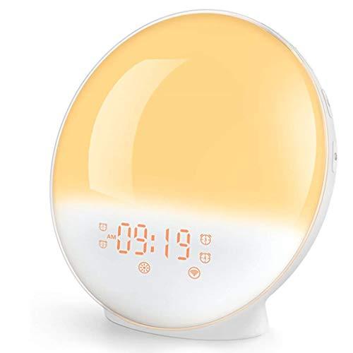 PBTRM Wake Up Light Despertador Luz Inteligente, 7 Colores, Radio FM, Función Snooze, Lámpara Noche con Simulación Amanecer/Atardecer, Aplicación Inteligente O Control Voz, Alarma Dual