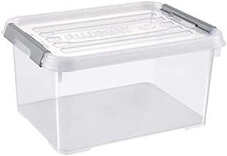 Curver HANDY+Box avec Couvercle, 15 l, Transparent/Gris, 39x29x20 cm