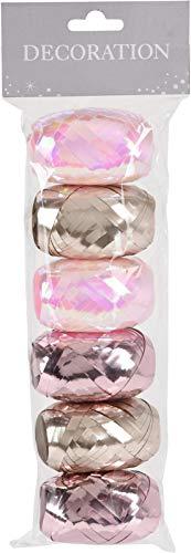MIJOMA Set Ringelband Polyband Geschenk-Band zum Basteln und Verpacken - 10 m je Rolle glänzend & matt Sortiert (6-teilig, rosa - violett - Bronze)