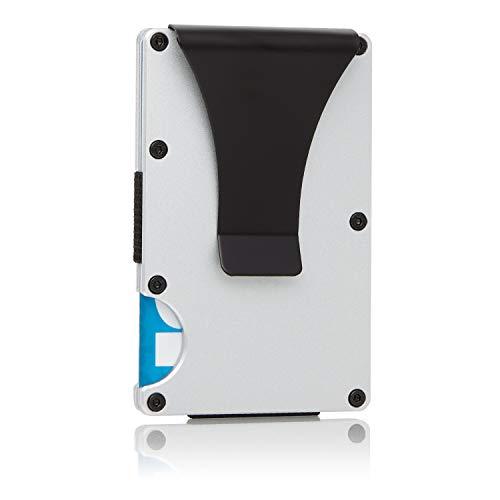 Raccoon Brand Slim Minimalist RFID Blocking Aluminum Metal Wallet With Money Clip for Men - Front Pocket Cash Credit Card Holder Wallet (Silver)