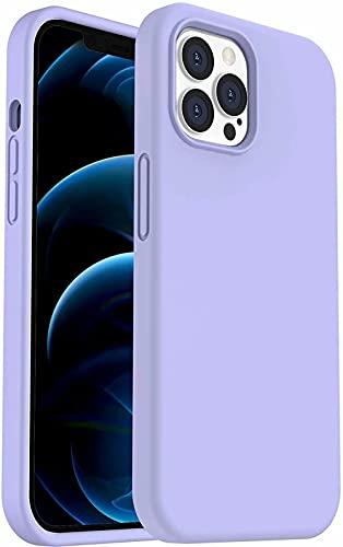 """FXKJ Compatible para Funda iPhone 12/iPhone 12 Pro 6,1"""" Funda de Silicona Líquida,Carcasa Protectora de Goma a Prueba de Golpes, Case Ultra Delgada y Duradera (Púrpura Claro)"""