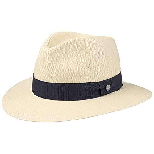 Lierys The Sophisticated Panamahut Damen/Herren - Handmade in Ecuador - Panamastrohhut - Strohhut aus Panamastroh - Sommerhut mit Ripsband Natur-dunkelblau XL (61-62 cm)