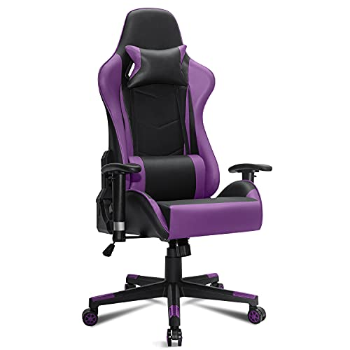Gaming Chair Racing Style PC Computer Office Chair, Ergonomic Chair, High Back Desk Chair for Gaming, Video Game Chairs for Teens with Adjustable Lumbar Support and Headrest (Purple)