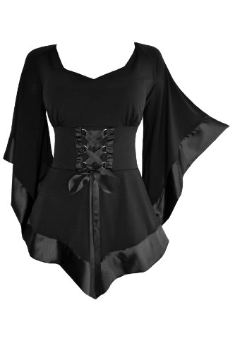 Dare to Wear Treasure Corset Top: Victorian Gothic Medieval Women's Plus Size Courtly Tunic for Everyday Halloween Cosplay Festivals, Black 5X