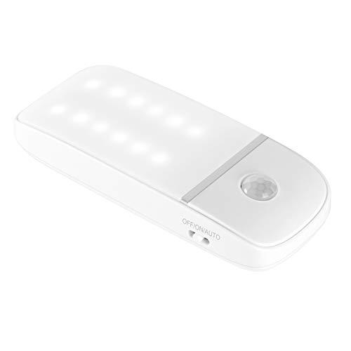 LED Nachtlicht mit Bewegungsmelder,batteriebetriebenen Bewegungssensor-Leuchte Nachtlampe Schranklicht mit 3 Modi (Auto/ON/OFF), für Garderobe, Schrank, Küche, Treppe (12LEDs, Kaltes Weiß)