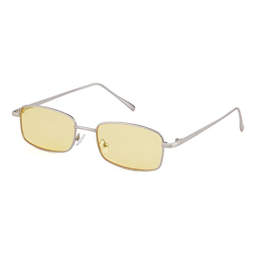 ADEWU Square Sunglasses Fashion Retro Glasses for Women Men (Yellow Lens + Silver Frame NEW)