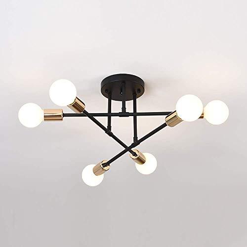 Lampadario da Soffitto Vintage, E27 Plafoniera LED Soffitto Moderna, Lampada da Soffitto 6 Luci Sospensione Industriale Industriale per Soggiorno Camera da Letto Loft Cucina