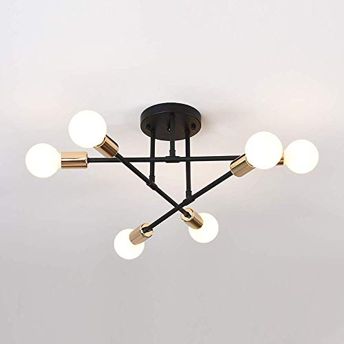 Lampadario da Soffitto Vintage, E27 Plafoniera Moderna, 6 Luci Lampadario a Sospensione Industriale per Camera da Letto Salotto