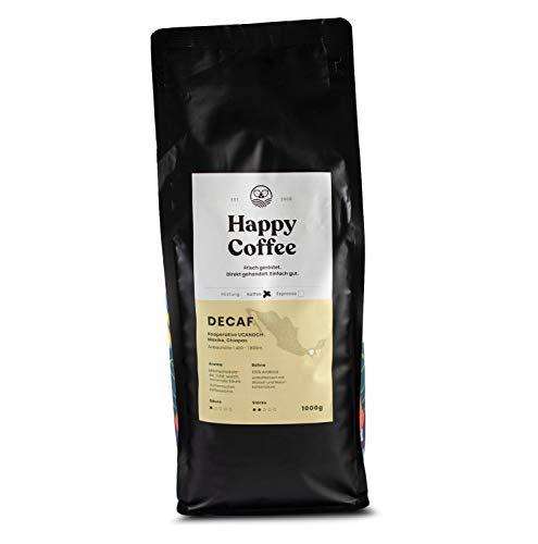 HAPPY COFFEE [DECAF] Entkoffeinierte Bio Filter Kaffeebohnen |Schokoladig, Mild & Säurearm | Ganze Bohne (1 KG)